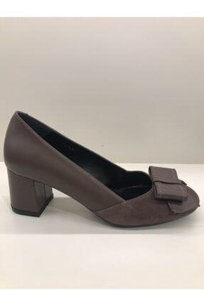 İnci Kadın Kahverengi Kalın Topuklu Deri Ayakkabı