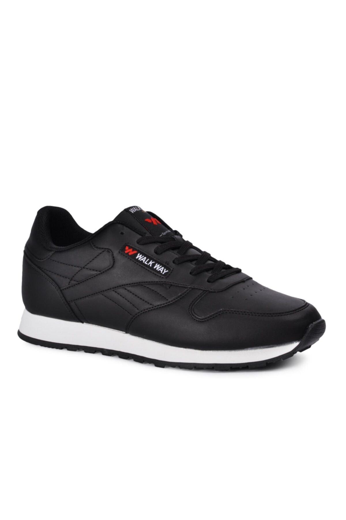 WALKWAY Memory Foam Siyah Beyaz Erkek Spor Ayakkabı Wlk23602 1