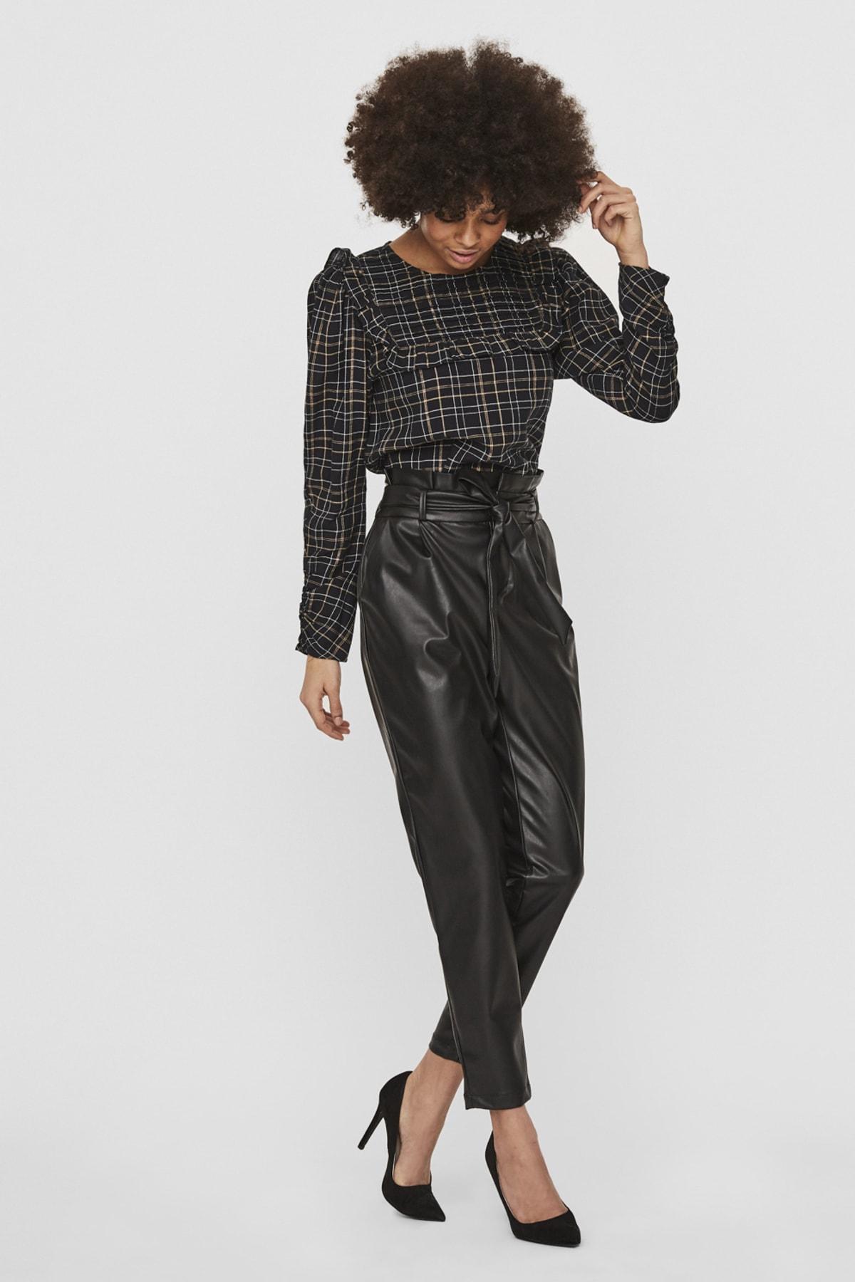Vero Moda Kadın Siyah Paperbag Kaplama Deri Pantolon 10235819 VMEVA 1