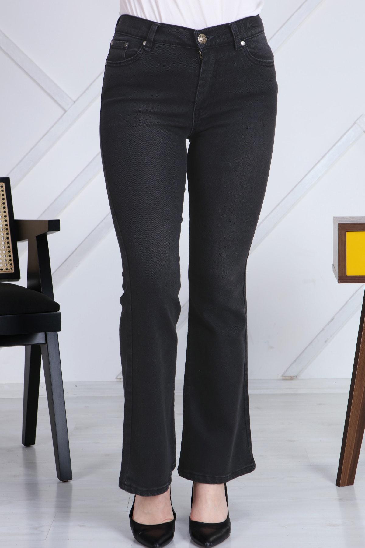 Gül Moda Antrasit Ispanyol Paça Likralı Yüksek Bel Kot Pantolon Jeans G00ipsi 1