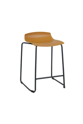 Papatya X-treme Sled Pro Bar Sandalyesi Otel Restoran Kafe Mutfak Koyu Sarı - Siyah