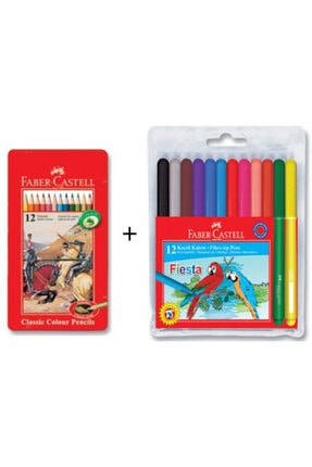Faber Castell 12 Li Metal Kutu Kuru Boya + Fiesta 12 Renk Keçeli Kalem