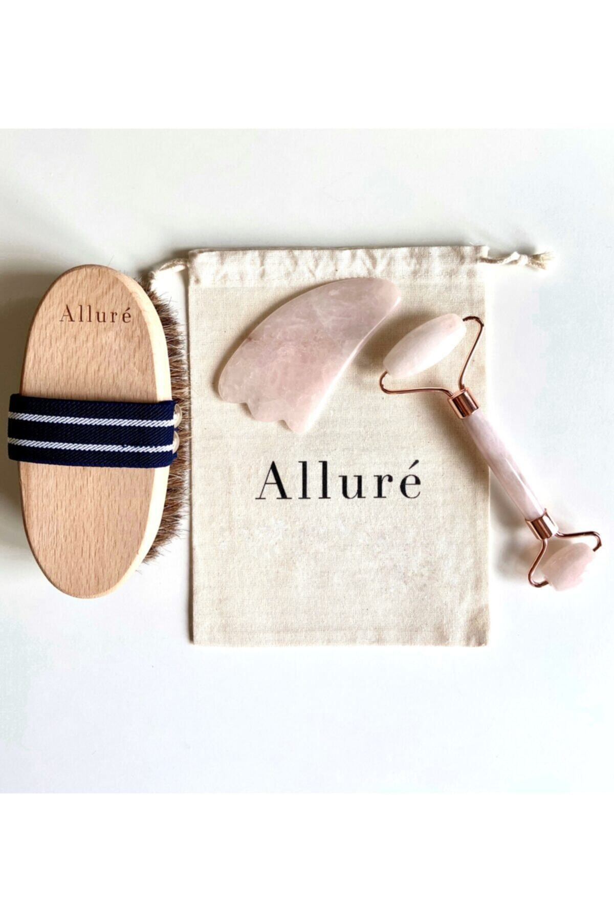 Allure Body Care Doğal At Kılı Fırça, Rose Quartz Face Roller & Gua Sha Bakım Seti 1