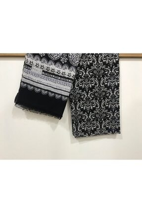 İpekçe  Siyah Pamuklu Çiçek Desen Renkli Pamuk Tülbent Şal