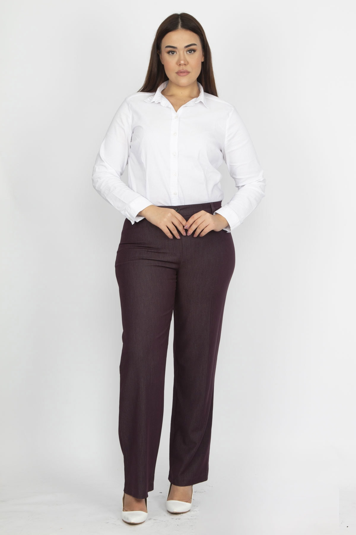 Şans Kadın Mürdüm Klasik Pantolon 65N19372 1