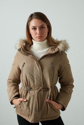 Vero Moda Kadın Kahverengi Regular Fit Kapüşonlu  Mont