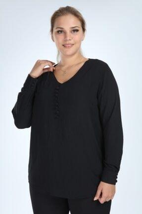 Lir Kadın Siyah Büyük Beden Uzun Kol Düğmeli Bluz