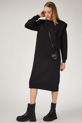 Happiness İst. Kadın Siyah Vatkalı Polarlı Maxi Sweat Elbise BP00042