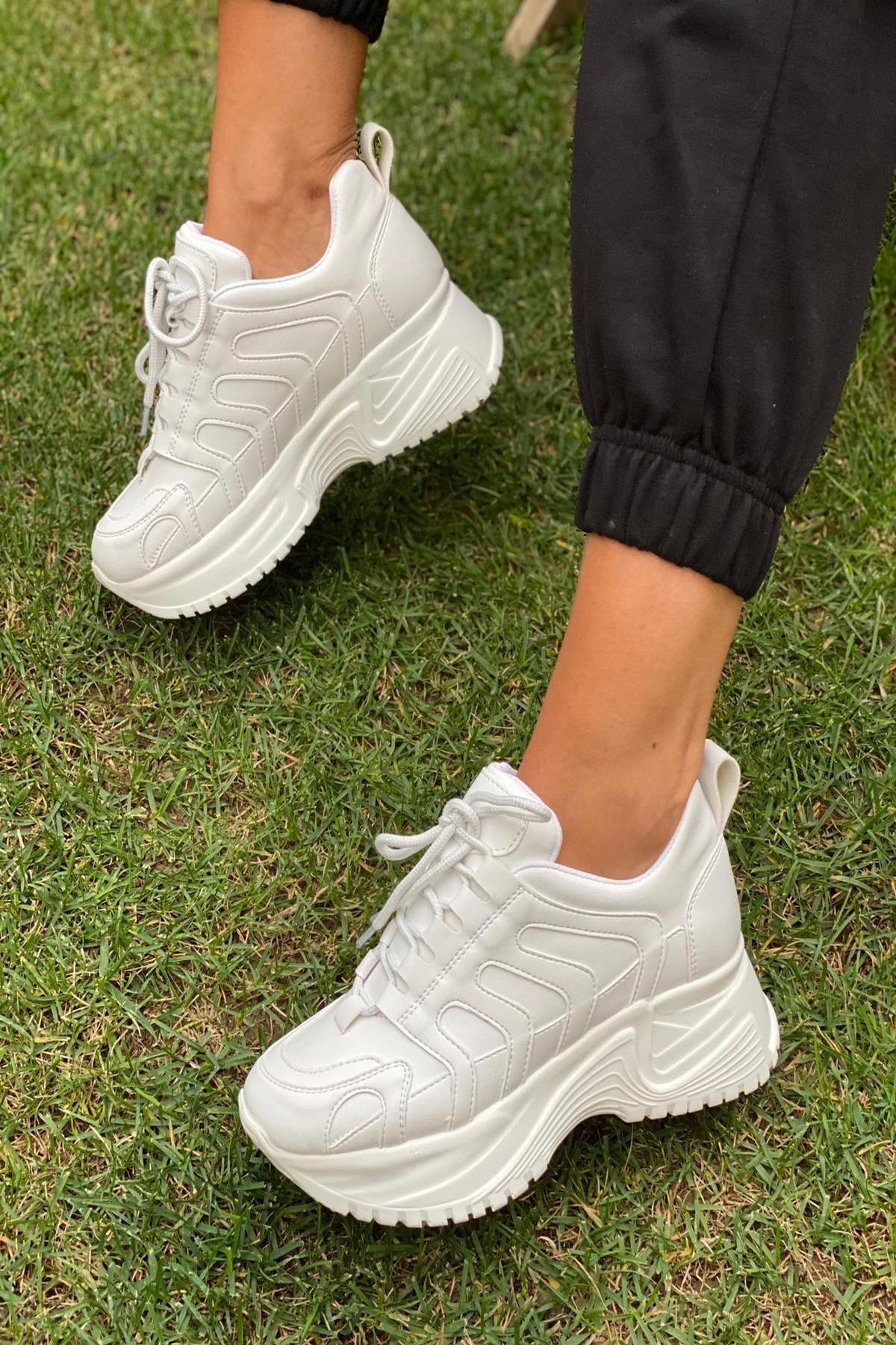 İnan Ayakkabı Kadın Beyaz Sneaker 1