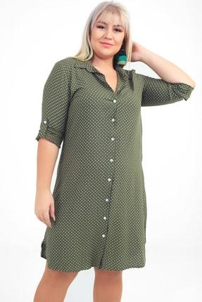 By Saygı Kadın Haki Puantiyeli Viskon Büyük Beden Gömlek Elbise S-20Y3570011