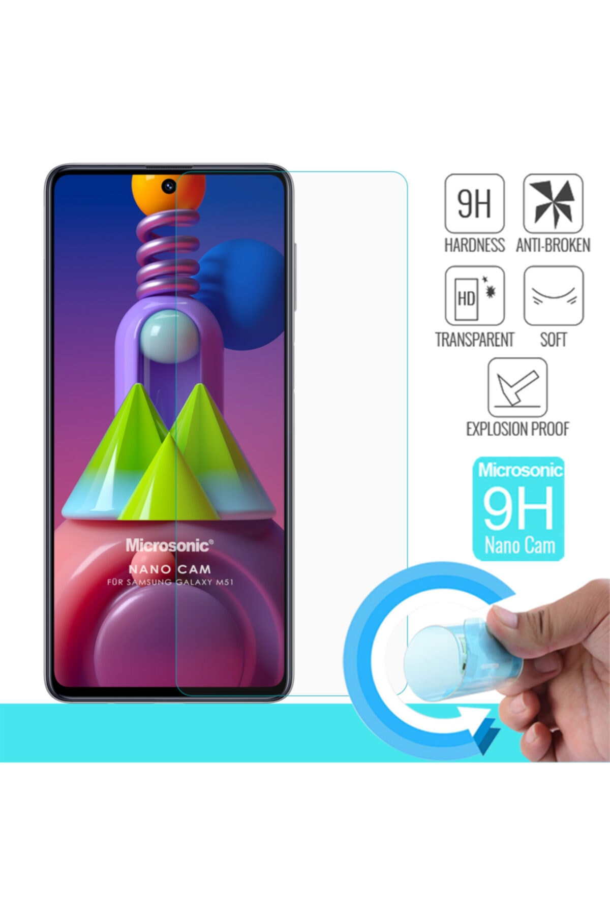 Microsonic Samsung Galaxy M51 Nano Glass Screen Protector 1