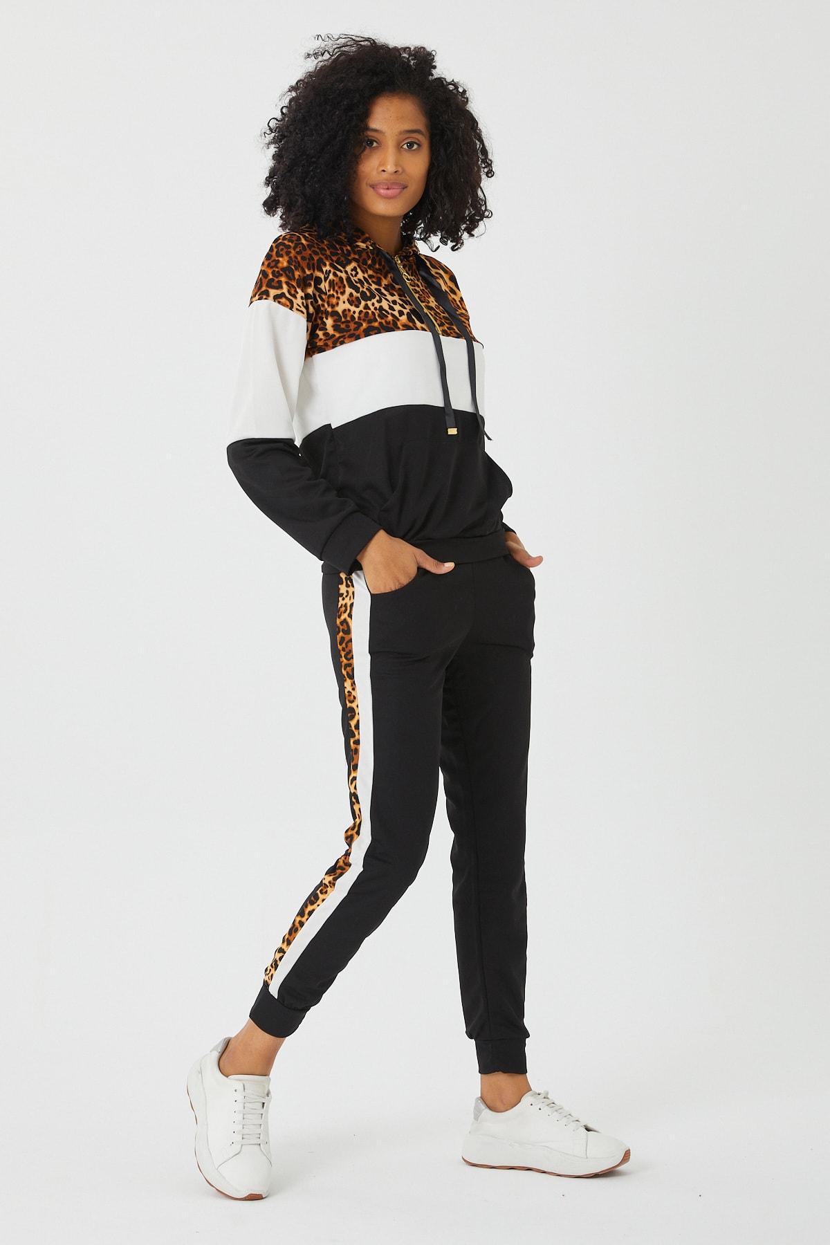 LE CARAMBOLE Kadın Siyah Leopar Detaylı Eşofman Takım 2