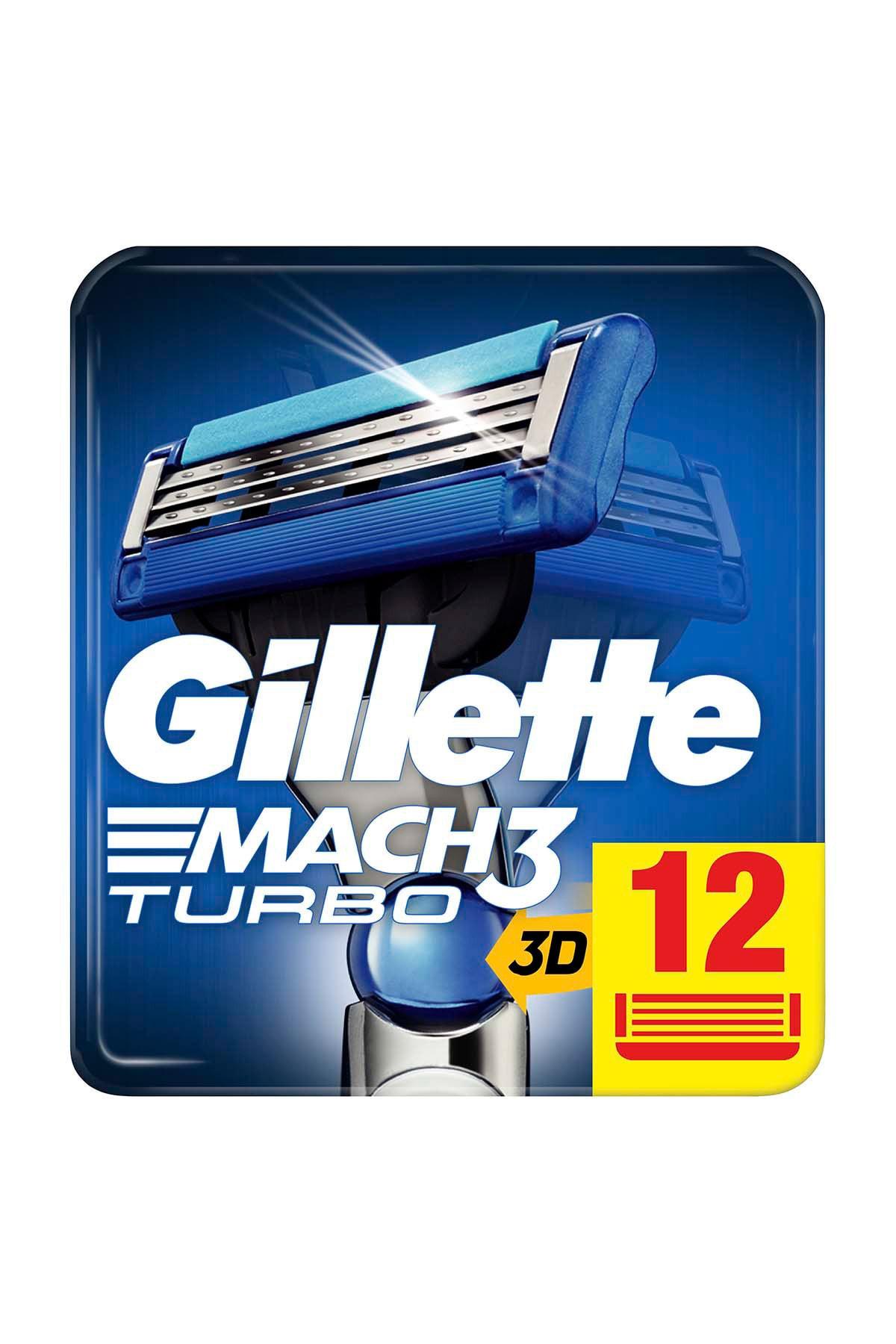 Gillette Mach3 Turbo Yedek Tıraş Bıçağı 12'li 1