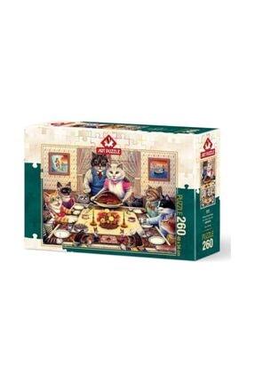 ART Puzzle Birdirbir 260 Parça Puzzle Puzzle Kedi Ailesi Ziyafette 260 Parça Puzzle
