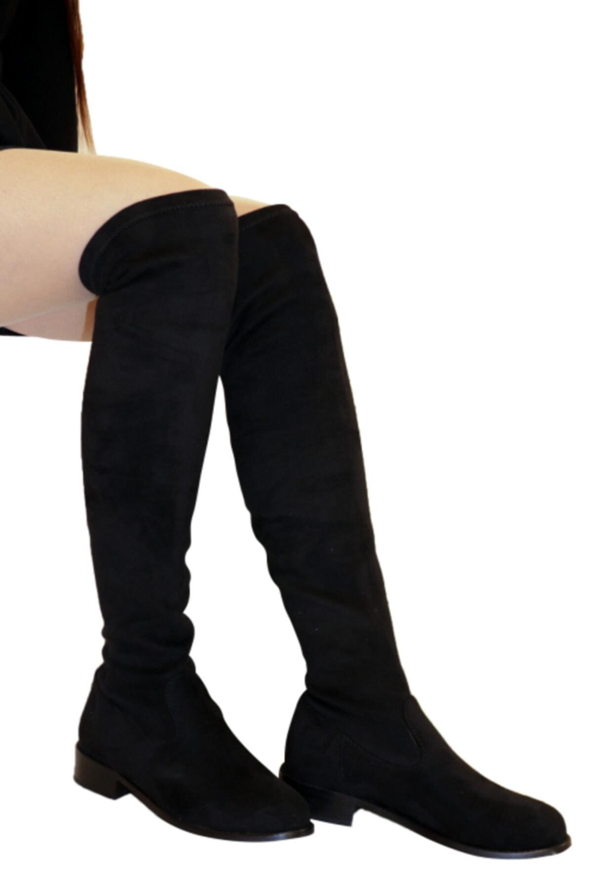 OZ DOROTHY Kadın Siyah Süet Streç Diz Üstü Çorap Çizme 2