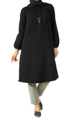 ALLDAY Kadın Lacivert Deri Biyeli Kolyeli Tunik