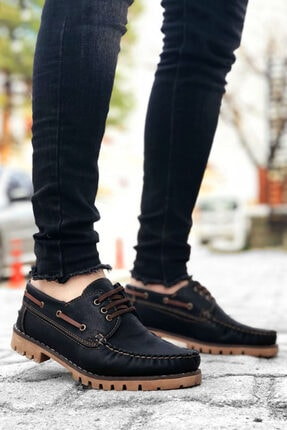 BYSPARTA Erkek Siyah Bağcıklı Klasik Ayakkabı