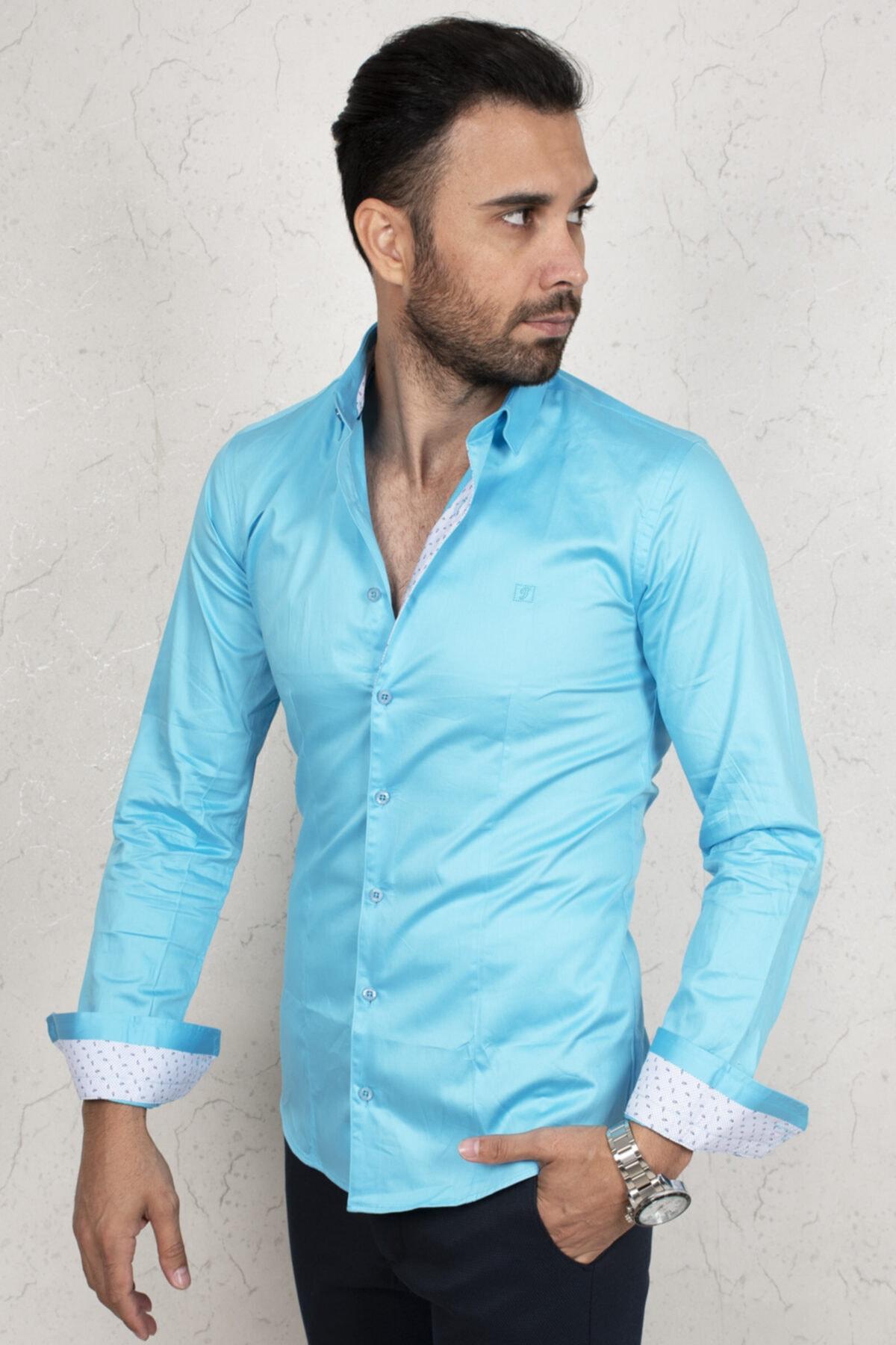 DeepSEA Erkek Mavi Saten Regular Fit Uzun Kol Gömlek 2000172 2