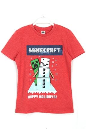 MINECRAFT Erkek Çocuk Kırmızı Çift Yönlü Pullu Baskılı T-shirt