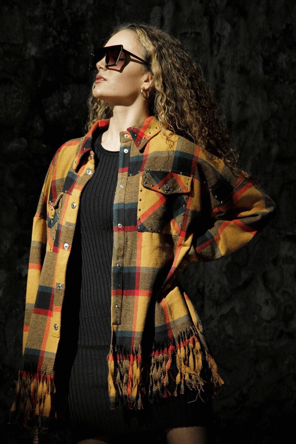 butikgogirl Kadın Turuncu Oduncu Model Ceket Gömlek 2