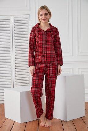 HAKKE Kadın Kırmızı Kareli Örme Pijama Takımı