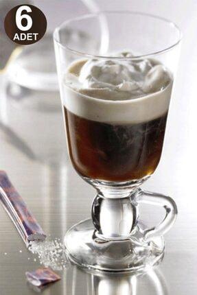 Paşabahçe 6'lı Ayaktan Kulplu Cam Latte Cappuccino Macchiato Nescafe Meşrubat Bardağı Irish Coffee Kupası