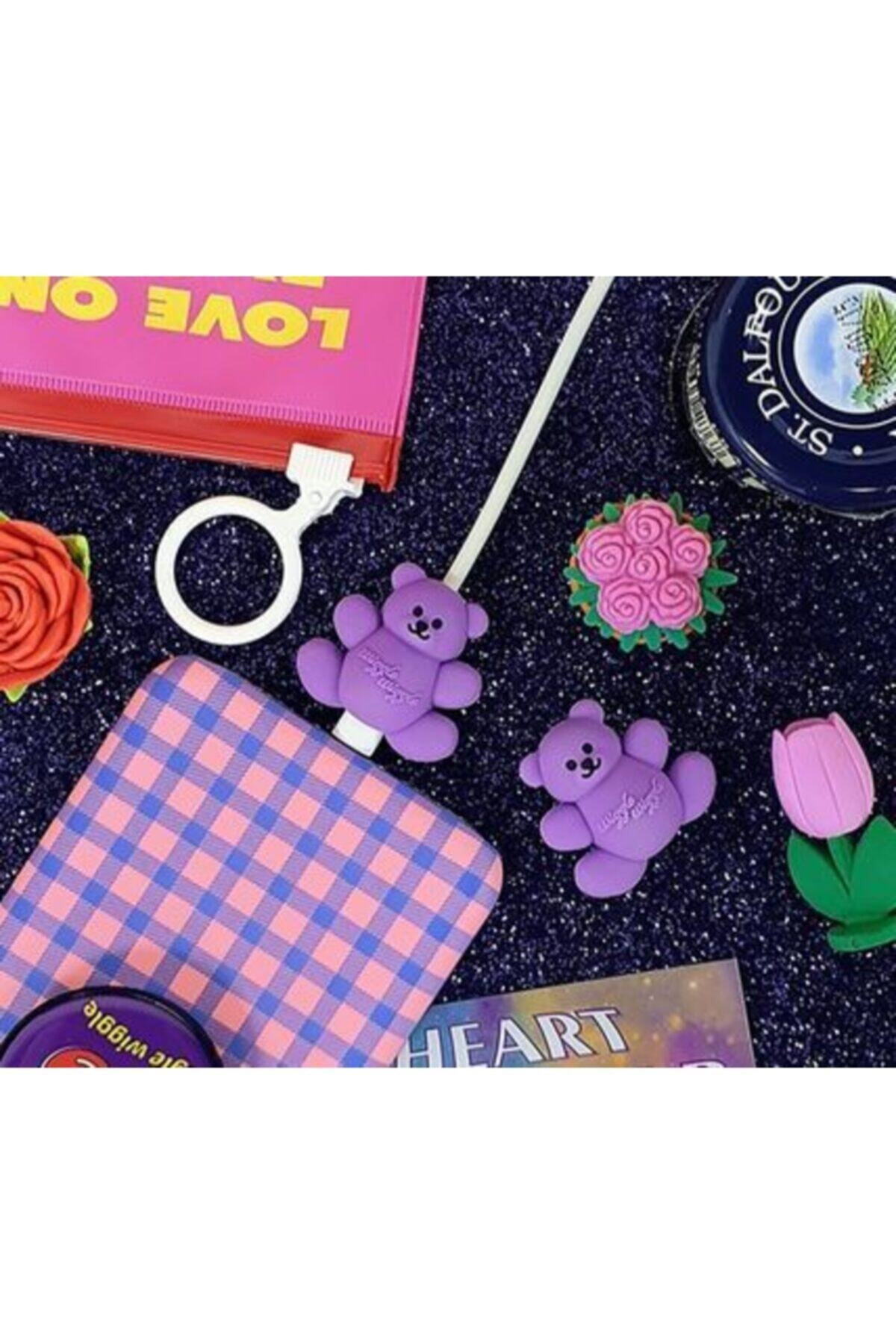 Telehome Sevimli Silikon Kablo Koruyucu Purple Bear 2