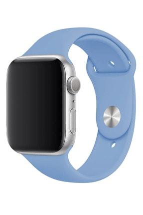 Fibaks Mavi Apple Watch 44mm A+ Yüksek Kalite Spor Klasik Silikon Kordon Kayış Bileklik