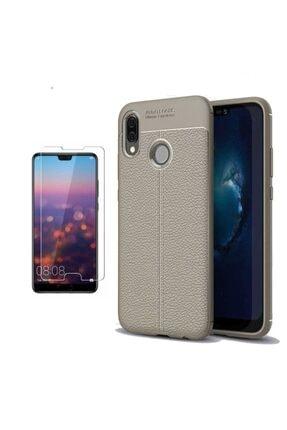 Huawei Teleplus P20 Lite Deri Dokulu Silikon Kılıf Gri + Nano Ekran Koruyucu