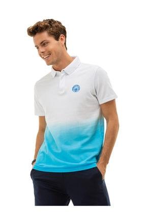 Fenerbahçe Erkek Beyaz Tribün Gizli Pat Degrade Polo T-Shirt