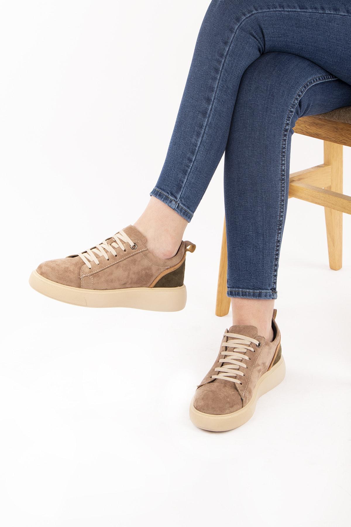 Caddemoda Kadın Vizon Süet Ayakkabı 1