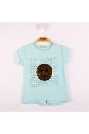 Toontoy Kız Çocuk Turkuaz Gülen Yüz Pullu Nakış Tişört