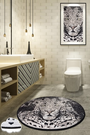 Chilai Home Tıger Dijital Çap 100 cm Banyo Halısı