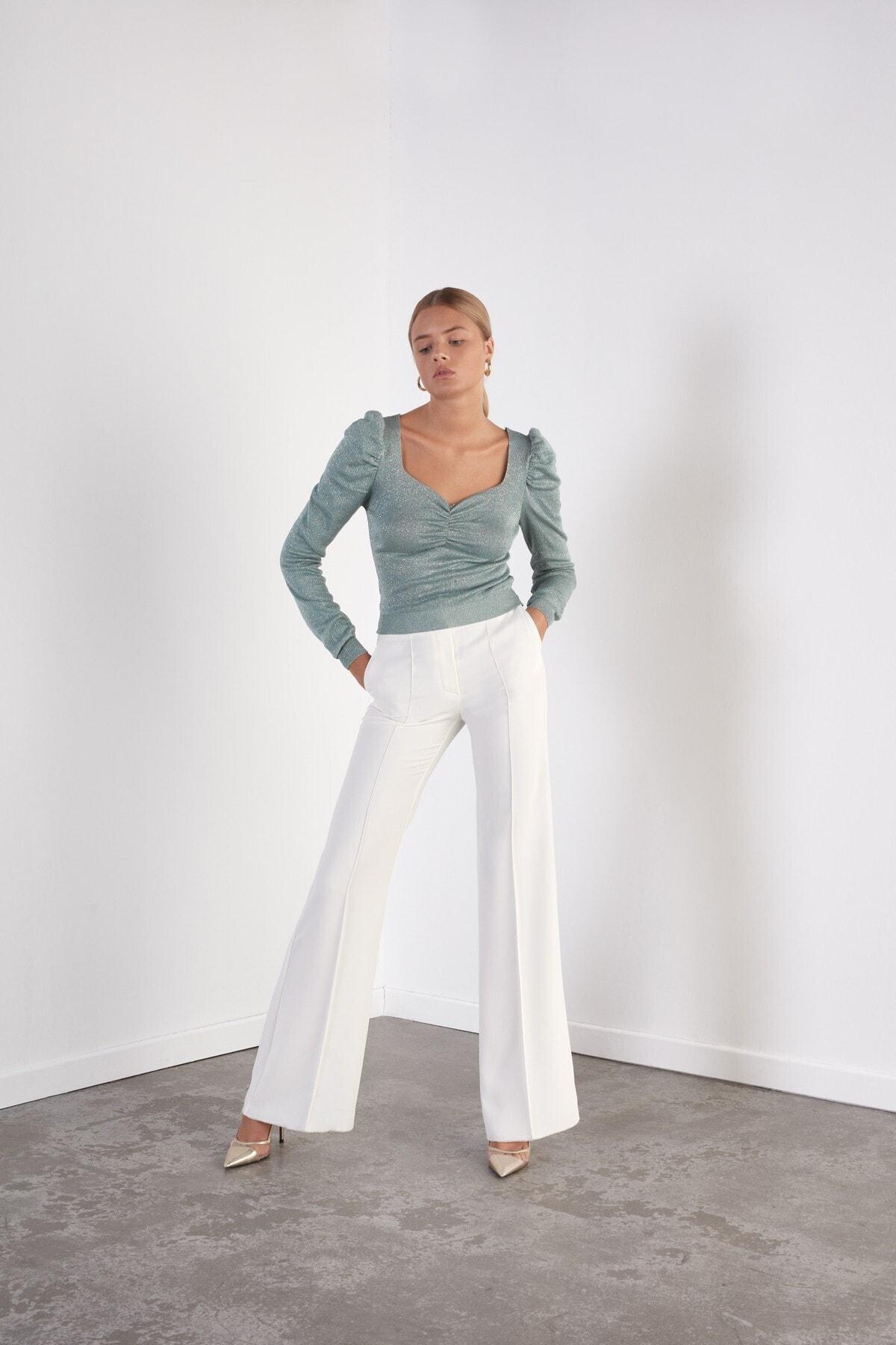 JOIN US Kadın Mint Kare Yaka Karpuz Kol Triko Bluz 2