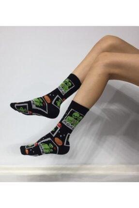 ADEL ÇORAP Kokulu Unisex Uzaylı Desenli Uzun Çorap