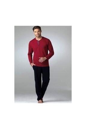 Pierre Cardin Erkek Bordo Uzun Kollu Penye Pijama Takımı 5454