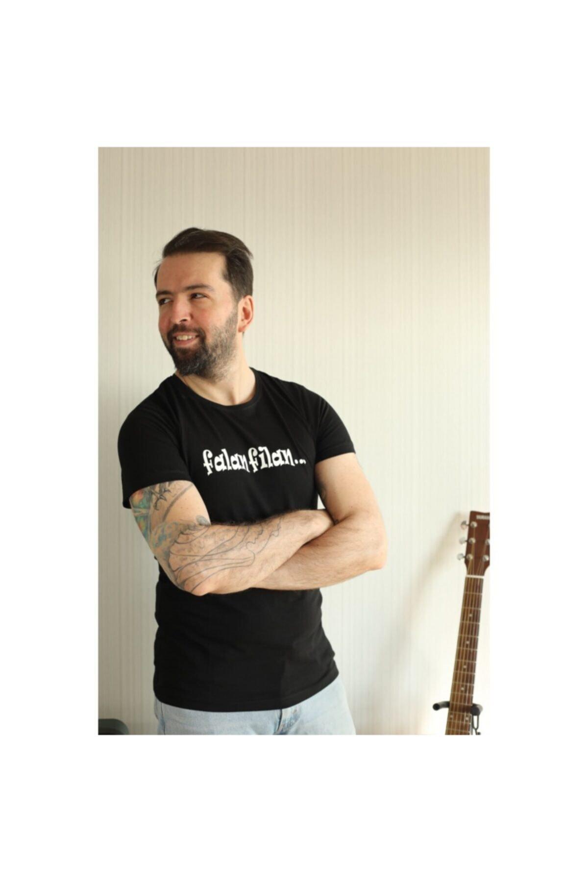 ajel Unisex Siyah Falan Filan Baskılı T-Shirt 1