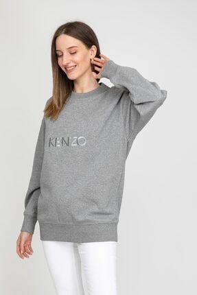 Kenzo Kadın Gri Kaplan Logolu Sweatshirt