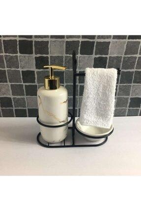 AROW Beyaz Havlullu Porselen Sıvı Sabunluk Seti