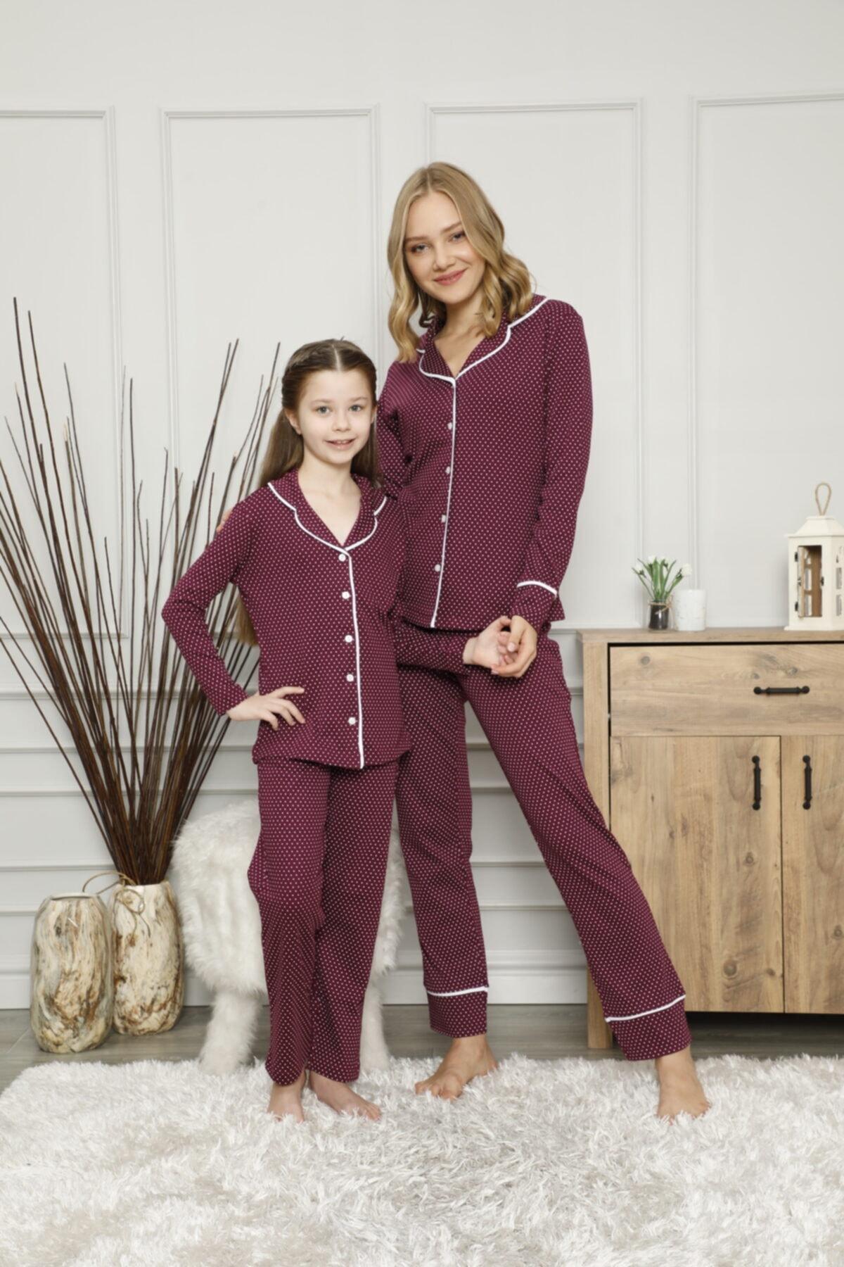 KILIÇ TEKSTİL Anne Kız Puantiyeli Pijama Takımı Kombini Interlok Kumaş 2