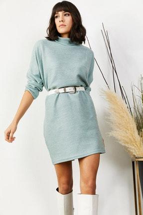 Olalook Kadın Mint Yeşili Balıkçı Yaka Selanik Tunik Elbise ELB-19001349