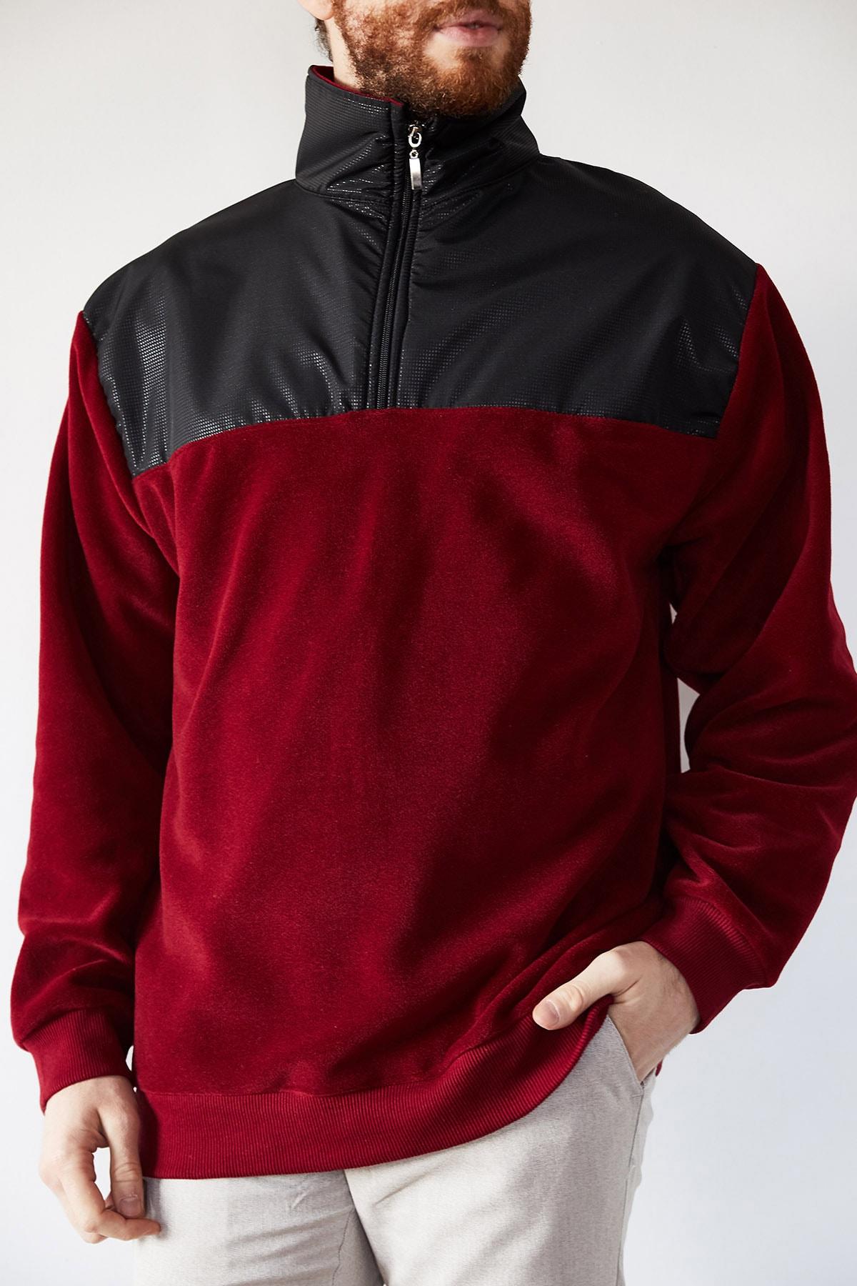 XHAN Erkek Bordo Deri Garnili Polar Sweatshirt 1kxe8-44233-05 1