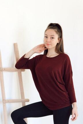 CARNA DESİGN Kadın Bordo Truvakar Kol Ince Triko Kazak