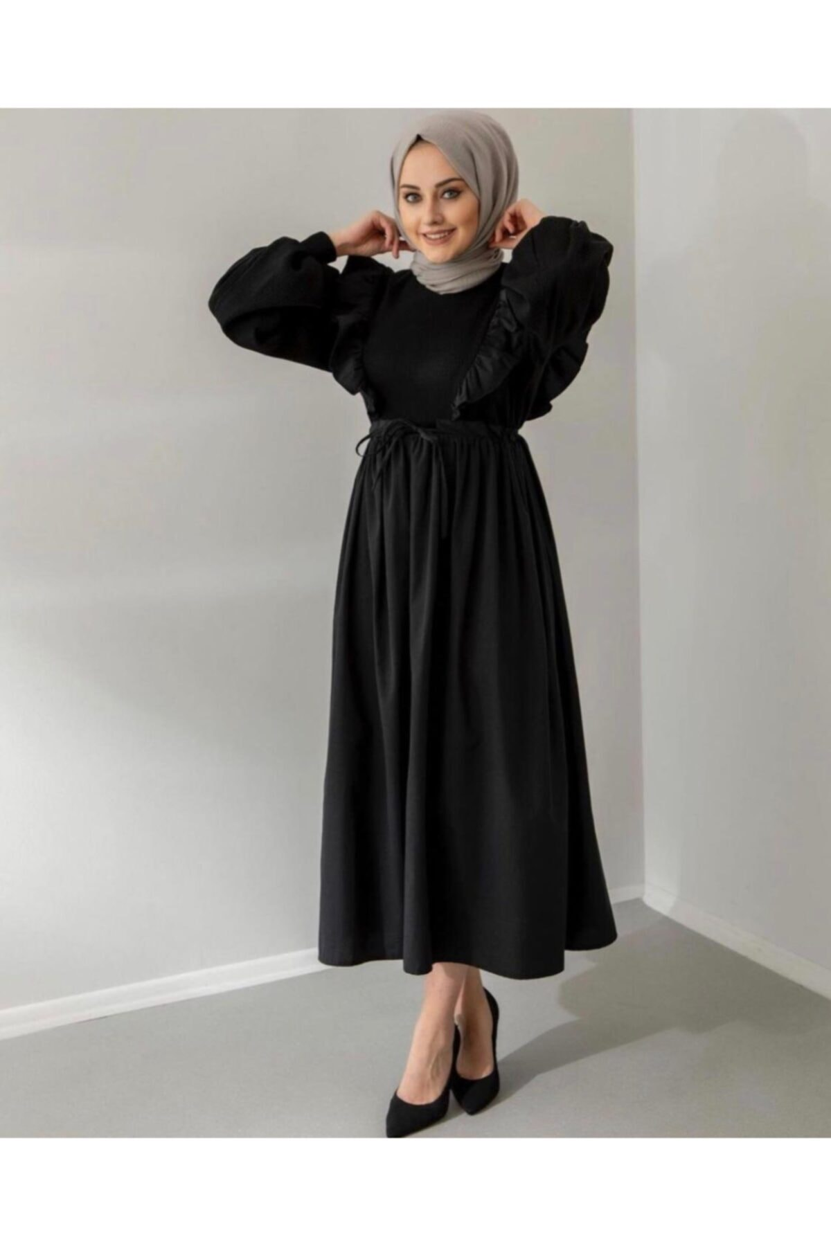 ENDERON Kadın Siyah Büzgülü Triko Elbise 1