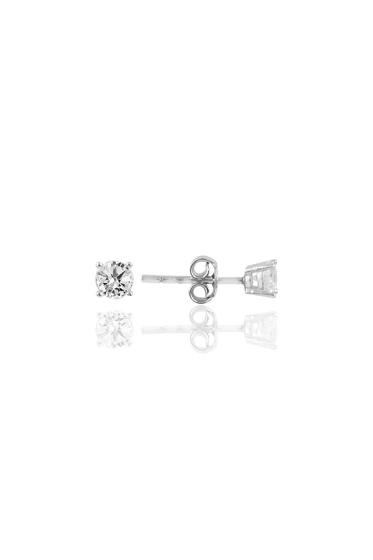 Söğütlü Silver Gümüş Pırlanta Montürlü Rodyumlu Tek Taş Küpe 1