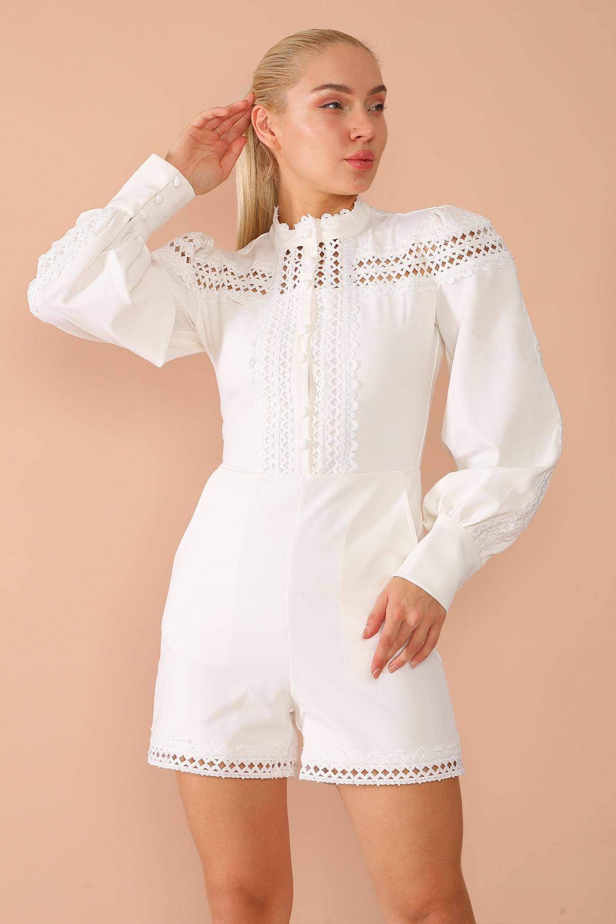 nobisis Kadın  Beyaz  Dantel Dügme Detaylı Elbise-1026b 2