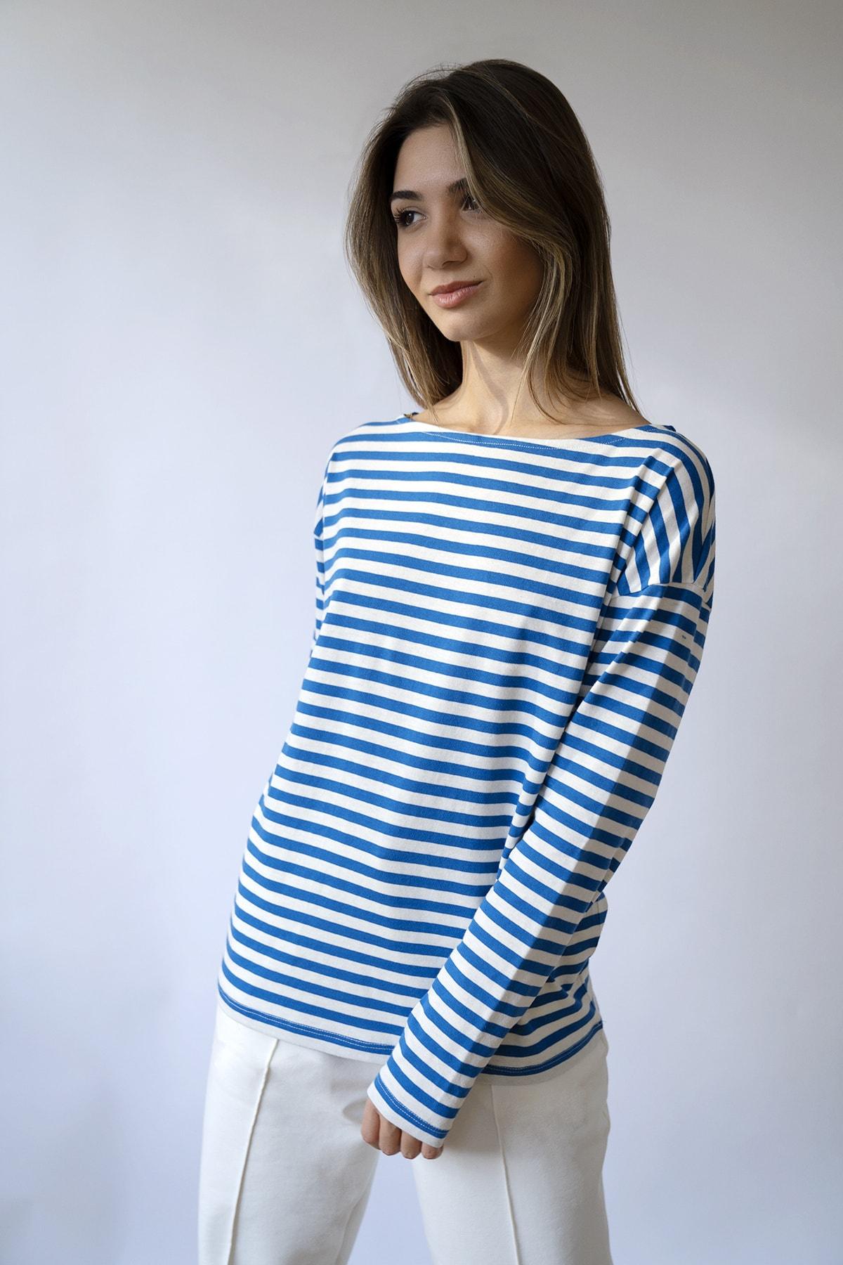 BeCasual Kadın Lacivert Çizgili Uzun Kollu Kayık Yaka T-shirt 1