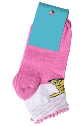 Zafoni Kız Çocuk Pembe Baskılı Çorap