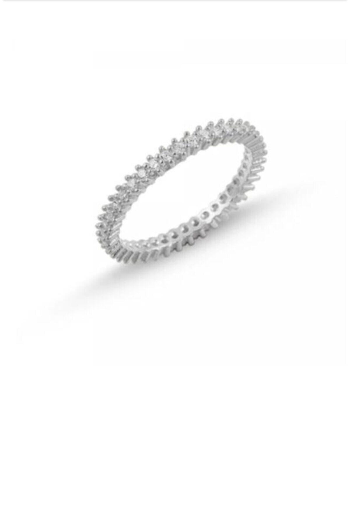takı tak silver Bayan 925 Ayar Gümüş Zirkon Taşlı Işlemeli Tek Sıra Tamtur Gümüş Rengi Yüzük 1