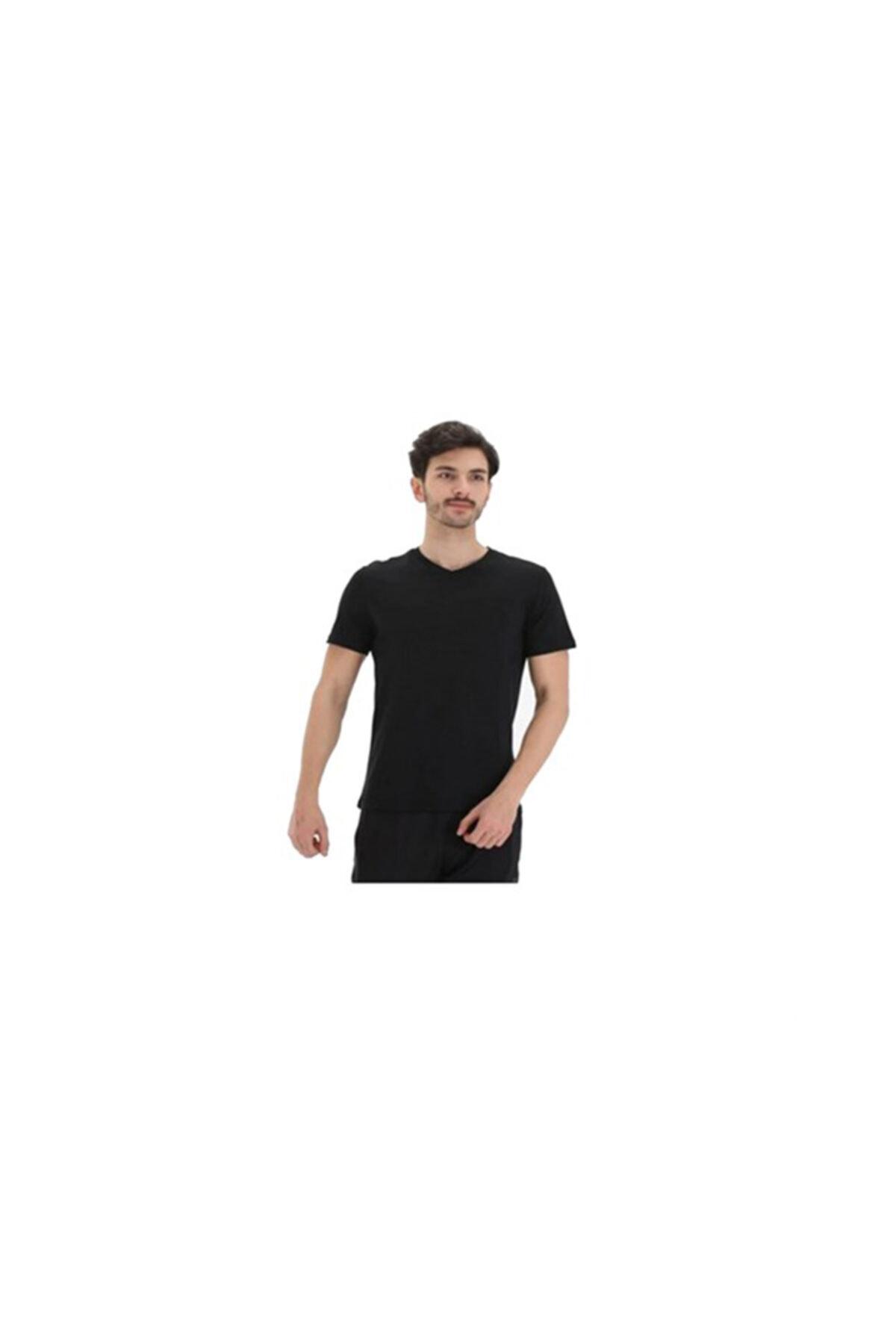 Exuma Erkek Siyah Sıfır Yaka Tişört 1